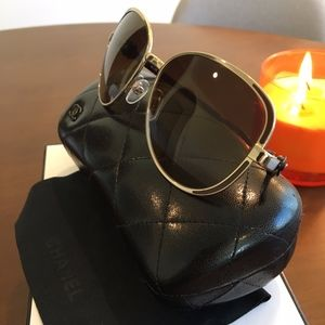 Chanel - Authentic - Gold Framed Sunglasses